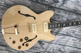 solid f hole Australia - John Lennon Revolution Casino Natural ES Semi Hollow Body Jazz Electric Guitar Gold Hardware, Double F Holes, Trapeze Tailpiece, P90 Pickups