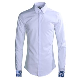 d6ecab18b98349 Original Design Men Rosy Cloud Letter Bmbroidery Shirts Long Sleeve Slim  Solid Shirt Smart Casual Clothing Europe White Black