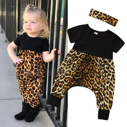 Wholesale black leopard jumpsuit for sale - Group buy Baby Girl Jumpsuit Suit Infant Girl Casual Clothes Onesies Sets Girls Leopard Short Sleeve Stitch Jumpsuit With Hair Accessories M