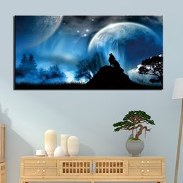 Oil art night landscape paintings online shopping - Modern HD Printed Painting Canvas Home Decor Piece Animal Wolf Moon Night Poster Wall Art Picture Home Decor No Frame