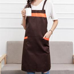 Discount waterproof work aprons - Waterproof Cooking Apron Polyester Coffee Shop And Hairdresser Sleeveless Work Apron Bib Cooking Clothing Antifouling Ap
