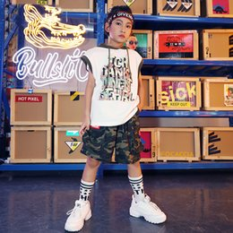 dance camouflage costumes Australia - Fashion Hip Hop Jazz Dances Costume Kids Handsome Camouflage Summer Street Dance Clothes Children Stage Performance Wear DWY2011