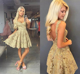 homecoming dresses full length black 2019 - 2020 Sexy Gold Full Lace Open Back Homecoming Dresses Cheap Spaghetti Above Knee Length Party Cocktail Gown Mini Club Pr