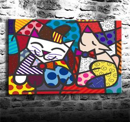 cats oil paintings Australia - (Unframed Framed) Romero Britto Happy Cat & Snob Dog,1 Pieces Canvas Prints Wall Art Oil Painting Home Decor 24X36.
