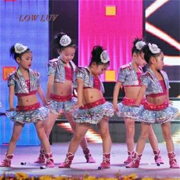 Children Sequin Modern Jazz Dance Costumes Hip Hop Stage Mounts Drums Group Clothes Catwalk Horns Kids Ballroom Performace Dress Home