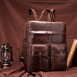 "real laptops 2019 - Men's Vintage Genuine leather Men Backpack Male Multifunction 14"" Laptop Real Leather School Bag Casual Travel"