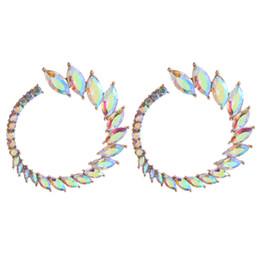$enCountryForm.capitalKeyWord UK - New listing high quality women's brand name jewelry charm rhinestone glass stainless steel round earrings style luxury druzy drusy design ea