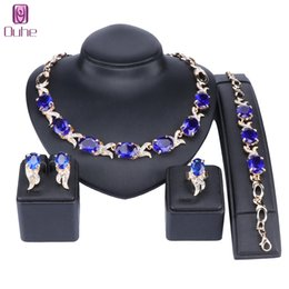 ruby jade jewelry UK - Austrian Crystals Bridal Jewelry Sets Gold Color Blue Dubai Jewellry Sets for Women Necklace Bracelet Earrings Ring Bridal