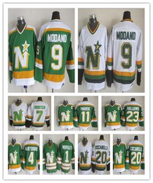 79b6f478425 Minnesota North Stars Jerseys 9 Mike Modano 1 Gump Worsley 20 Dino  Ciccarelli 4 Craig Hartsburg retro Hockey Jerseys good qulity