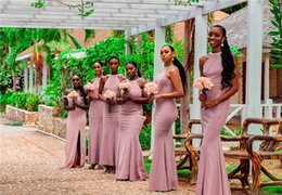 Wedding dress cheap online shopping - African Dusty Pink Pearl Beaded Mermaid Bridesmaid Dress Black Girl Cheap V Neck Wedding Guest Gown Long Formal Party Evening Prom Dresses