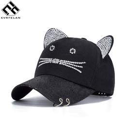 $enCountryForm.capitalKeyWord Australia - New Fashion Rhinestone Baseball Cap Women Cute Sport Cat Ears Cartoon Snapback Cap Gorras Bones Casquette