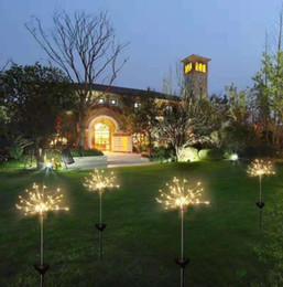 OutdOOr decOratiOn lamps online shopping - Solar Fireworks Lights LED String Lamp Waterproof Outdoor Garden Lighting Lawn Lamps Christmas Decorations lights GGA2520