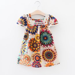 c04a8e9e854ca Sun Flowers Print Girl Dresses Ethnic Cotton Style With Lace Decoration  Ruffle Trim Skirt Kids Designed Clothes