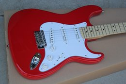 Guitar mahoGany oranGe online shopping - Factory Red Electric Guitar with White Pickguard SSS Pickups Chrome Hardware Maple Fretboard Can be Customized