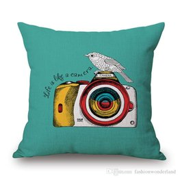 cushion cover black bird UK - Watercolor Camera Birds Cushion Cover Take Another Shot Pillow Cover 45X45cm Thick Linen Cotton Pillow Cases Bedroom Decor