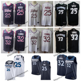 b1a3bd2cd 2019 Earned  32 Minnesota Karl-Anthony Towns Andrew Wiggins Timberwolves  Edition Basketball Jersey City Derrick Rose Edition Stitched Shirts
