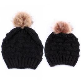 6e98a042741 2pcs set Winter Beanie Hats Knit Hat Fleece Crochet Warm Pom Matching Baggy  Mom Baby Caps Mohair