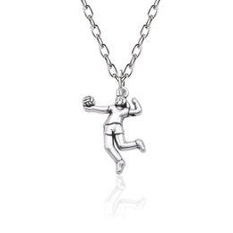 $enCountryForm.capitalKeyWord Australia - Trendy Volleyball Girl Player Pendant Necklace Women Metal Sport Figure Silver Chain Necklace Inspiring Jewelry Bijoux Femme