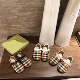 Canvas Shoes Plaid Australia - Designer Baby Shoes Little Baby Boys Girls Prewalker Fashion Slip on Sneakers Plaid Printed Canvas Shoes High Quality Shoes with Box