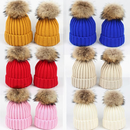 $enCountryForm.capitalKeyWord Australia - Winter Beanie Mom Women Baby Kids Knitted Hats Children Warm Caps Crochet Skull Caps Wool Fur Ball Pompom Striped Knit Hat Beanies Hat