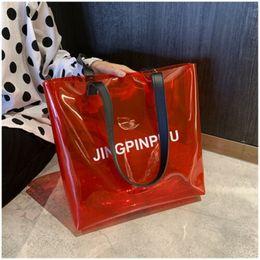 $enCountryForm.capitalKeyWord Australia - New Women Bag Lovely PVC Clear Tote Transparent Handbag Fashion Large Shoulder Shopper Travel Makeup Bags