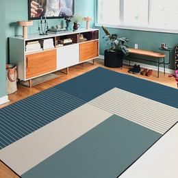 $enCountryForm.capitalKeyWord Australia - Modern fashion Japanese Nordic style simple bed and breakfast geometric dark green blue bedroom door living room floor mat carpet red blue