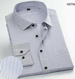 work dress shirts Australia - Navy Long Sleeve Business Casual Stripe Shirt Men Work Business Wedding Shirts Plaid Work Office Dress Shirts Long Sleeve