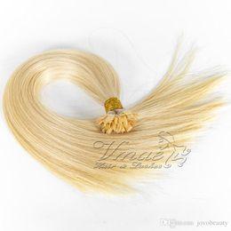 $enCountryForm.capitalKeyWord Australia - Russian 8 to 30 inch 1g strand 100g Double Drawn Blonde Straight Prebonded Human Keratin Pre Bonded Flat Tip Hair Extension