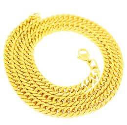 $enCountryForm.capitalKeyWord Canada - 14K Gold Stainless steel necklace explosion models men's matching chain 7MM thick chain flat snake bone chain 22'