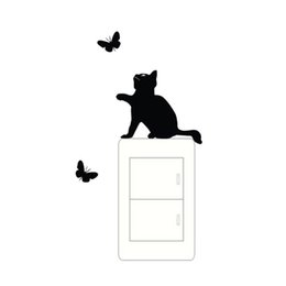 $enCountryForm.capitalKeyWord UK - Cat And Butterfly Switch Stickers Vinyl Art Deco Wall Stickers