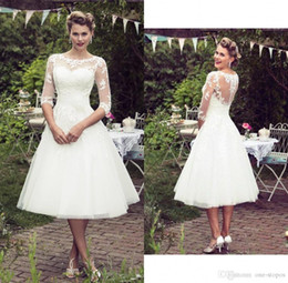 empire style wedding gowns Australia - Vintage 50's Style Short Lace Wedding Dresses Half Sleeves Tulle Lace Applique Tea Length Bridal Wedding Gowns With Buttons