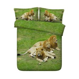 Chinese  3 Pieces Duvet Cover Set Comforter Quilt Bedding Cover With Zipper Closure Wildlife Tiger Leopard Bed Spread Lion Boys Girls 3D Bedding Sets manufacturers
