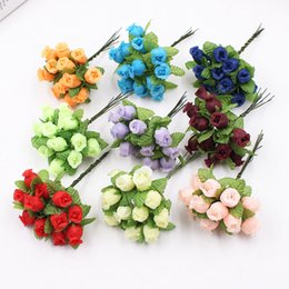 $enCountryForm.capitalKeyWord Australia - 12pcs lot Silk Artificial Flowers Mini Rose Bouquet Wedding Home Decoration Craft Card Gift Diy Wreath Scrapbooking High Quality