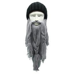 Crochet Ski Mask UK - 1PC Newest Unisex Beanie Viking Hats Beard Face Mask Winter Ski Cosplay Prop Hats Winter Warm Wool Handmade Crochet Gift