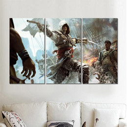 $enCountryForm.capitalKeyWord UK - 3 piece canvas print modern art painting assassins creed black flag picture for living room wall decor