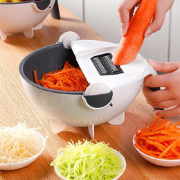 two basket UK - Kitchen Chopping Artifact, Vegetable And Fruit Slicer, Washing Vegetables, Two-In-One Magic, Rotating With Drainage Basket