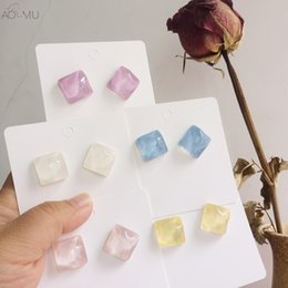 $enCountryForm.capitalKeyWord Australia - AOMU 2019 Simple Color Cute Acrylic Resin Square Geometric Small Stud Earrings for Women Girl Party Gift Jewelry Bijoux