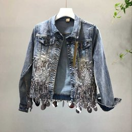 sequin sleeve jacket NZ - Sequins tassel cropped denim jacket vintage short jeans jacket women long sleeve jackets 2019 autumn chaqueta mujer veste femme SH190913