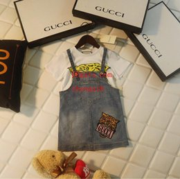 $enCountryForm.capitalKeyWord Australia - 2019 kids clothes girls tracksuits Tiger head printed short sleeve+Denim strap dress 2pcs suit baby girl Clothes children Clothes AB-7