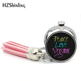 silver plants NZ - Fashion Peace Love Vegan Keychain Silver Tassel Bohemian Keychains Herbivore Plants Keyring Glass Jewelry Gifts Vegetarian TAK--49