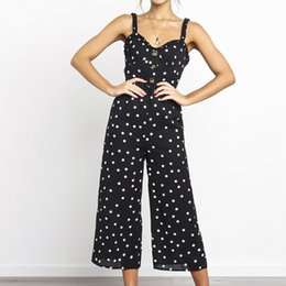 Wholesale womens fitted jumpsuits for sale - Group buy Bodysuit Casual rompers womens jumpsuit Slim fit polka dot sling wide leg jumpsuits women ruffles rompers Female ladies overalls