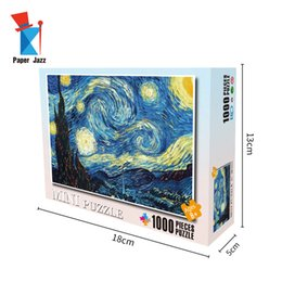 Wholesale starry night of Van Goh DIY 1000 Pieces Cardboard Mini Jigsaw Puzzle for Adults Puzzle Games