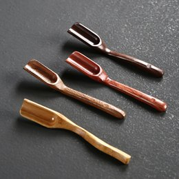 Ingrosso Cucchiaino da tè in ebano puro fatto a mano Scoop in legno Accessori da cerimonia per tè da bagno Cucchiai da sale Nuovo arrivo 3 5mz L1