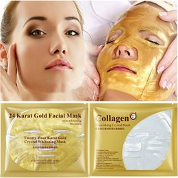 Discount wholesale crystal gold - Gold Collagen Face Mask Crystal 24K Gold Collagen Facial Masks Moisturizing Skin Care Korean Cosmetics Mask