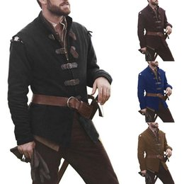 medieval flowers UK - Trench Men Medieval Knight Cosplay Costume Solid Collar Leather Buckle Jacket Men 2020 Casual Long Sleeve Top Clothing