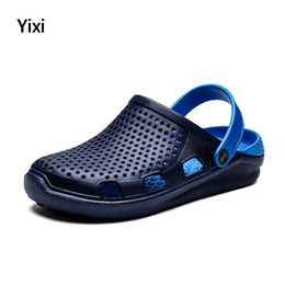 Summer Jelly Shoes Australia - Summer Sandals Men Slippers Water Shoes Outdoor Mules Clogs Breathable Barefoot Jelly Shoes Hollow Out Garden Walking