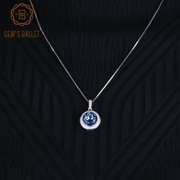ballet necklaces Canada - Gem's Ballet 4.79Ct Fine Jewelry Natural Iolite Blue Mystic Quartz Gemstone 925 Sterling Silver Pendant Necklace For Women Party