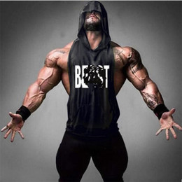 Muscle vests online shopping - Gyms Clothing Men s Muscle Hoodies Fitness Bodybuilding Sleeveless Gym Tank Top Vest Beast Printed Tops