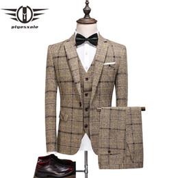 Wholesale 3 piece suit resale online - Plyesxale Luxury Fashion Men s Check Suit Plaid Suits Slim Fit Men s Wedding Suit Groom Tuxedo Piece Set Blazer Pant Vest Q866