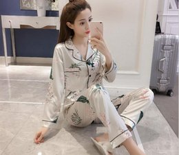 $enCountryForm.capitalKeyWord Australia - Summer and autumn long-sleeved cardigan Lapel printing large-size silk imitation lady's cardigan household dress Pajama suit